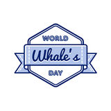 World Whales day greeting emblem Stock Images