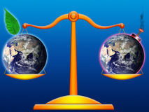 World-wide balance. Illustration of two supported antagonistic worlds in a balance Royalty Free Stock Photography
