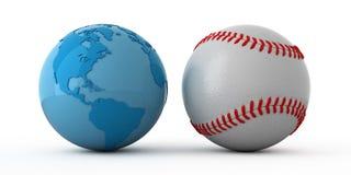 World wide baseball. Isolated blue globe and baseball ball Royalty Free Stock Image
