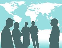World Wide Business. Group discussion with world map behind Stock Image