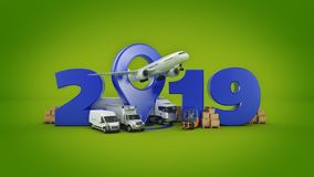 World wide cargo transport concept. 2019 New Year sign. 3d rendering. World wide cargo transport concept. 2019 New Year sign. 3d rendering vector illustration
