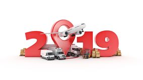 World wide cargo transport concept. 2019 New Year sign. 3d rendering. World wide cargo transport concept. 2019 New Year sign. 3d rendering royalty free illustration