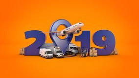World wide cargo transport concept. 2019 New Year sign. 3d rendering. World wide cargo transport concept. 2019 New Year sign. 3d rendering stock illustration