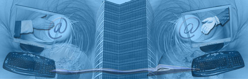 World wide connections and business deals. This header/ banner has an inetresting abstract background. The computer screens, @-signs, arrow, skyscraper and globe Royalty Free Stock Photos