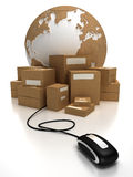 World wide delivery. The world with a heap of packages connected to a mouse
