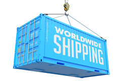 World Wide Delivery - Blue Hanging Cargo Container. World Wide Delivery - Blue Cargo Container hoisted with hook Isolated on White Background Stock Photography