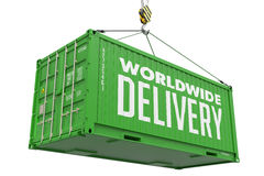 World Wide Delivery - Green Container. Royalty Free Stock Images