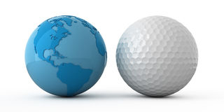 World wide golf. Isolated blue globe and golf ball Stock Photo