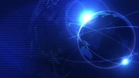 Global business network background. Blue earth. Business symbol. Loop animation.