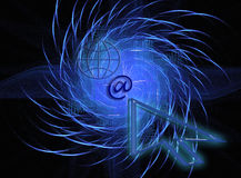 World wide internet. This design / image has a blue fractal background Royalty Free Stock Photo