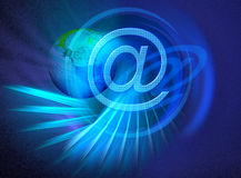 World wide internet connections. The blue abstract background is a performance of broadcasting. The big @-sign and globe are sybolic for World wide internet Royalty Free Stock Photos