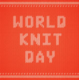 World Wide Knit in public day. Vector illustration with knitted text. Knitwear sweater texture. Yarn letters. Stock Photo