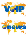 World wide news and voip broadcast logos. World map or globe with coloured land area and a flare background showing the America, Europe, Africa Asia and Royalty Free Stock Photos