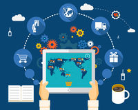 World Wide Shopping. Shopping on world map on screen of tablet. World Wide Shopping Concept Stock Images