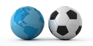 World wide soccer. Isolated blue globe and soccer ball Royalty Free Stock Images