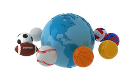 World wide sport. Blue globe with balls. Isolated Stock Photography
