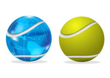 Earth and tennis ball. Illustrated tennis ball with planet Earth marked like ball isolated on white Stock Photo
