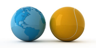 World wide tennis. Isolated blue globe and tennis ball Royalty Free Stock Images