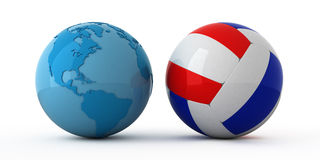 World wide volleyball. Isolated blue globe and volleyball ball Stock Image