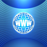 World Wide Web εικονιδίων στο αφηρημένο μπλε υπόβαθρο Στοκ Φωτογραφία