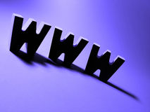 World wide web. A heavily silhouetted www on a bright purple background royalty free stock images