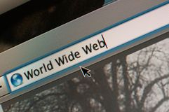 World Wide Web. Desktop screen with world wide web words printed on surfing engine Stock Photos