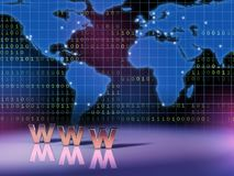 World wide web. Symbol in front of a world map. Digital illustration stock illustration