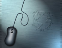 World Wide Web. A computer mouse and a water ring in the shape of the world upon a metallic desk surface Vector Illustration