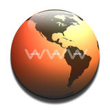 World wide web. Graphic on a burnt orange earth background detailing north & south american continents