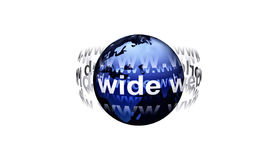 World Wide Web around Earth. Illustration of words, World Wide Web, orbiting Plant Earth, isolated on white background Royalty Free Stock Images