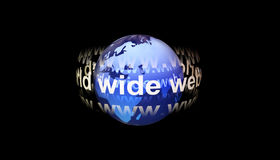 World Wide Web around Earth. Illustration of words, World Wide Web orbiting Planet Earth with black background Royalty Free Illustration