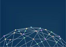 World Wide Web avec la ligne connexions entre les intersections colorées Fermez-vous de la grille du monde Photo libre de droits