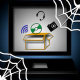 World wide web. A computer with networking web stock illustration