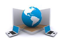 World wide web and computers. A pair of computers that connect the world Royalty Free Stock Image