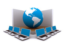 World wide web and computers. Computer wireless network connected to the web Stock Photography