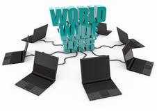 World Wide Web con il computer portatile Fotografia Stock