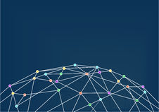 World Wide Web con la línea conexiones entre las intersecciones coloridas Ciérrese para arriba de rejilla del mundo Foto de archivo libre de regalías