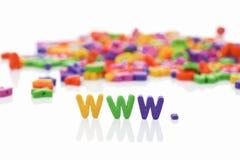 World Wide Web con las cartas plásticas imagen de archivo