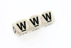 World wide web in cubes. World wide web, www arranged in game cubes Royalty Free Stock Photos