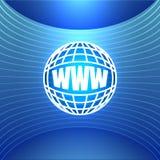 World Wide Web del icono en el fondo azul abstracto Fotografía de archivo