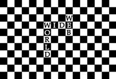 World Wide Web en un modelo del ajedrez Foto de archivo