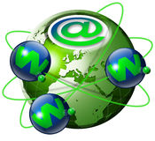World wide web globe. Illustration symbol www and internet with green terrestrial globe and 3 blue planets Stock Photo