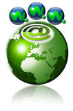 World wide web globe. Illustration symbol www and internet with green terrestrial globe and 3 blue planets Royalty Free Stock Images