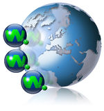 World wide web globe. Illustration symbol www and internet with green terrestrial globe and 3 blue planets Stock Photography