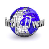 World Wide Web Illustration. Http://www text wrapped around model globe (computer generated Stock Photo
