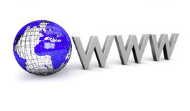 World Wide Web Illustration. WWW text next to model globe (computer generated Royalty Free Stock Photo