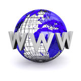 World Wide Web Illustration. WWW text wrapped around model globe (computer generated Royalty Free Stock Images