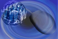 World Wide Web - Internet With Globe And Mouse. Blue World Wide Web - Internet With Globe And Mouse Stock Images