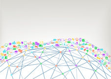 World wide web and internet of things (IoT) concept of connected devices. Wireframe model of world Stock Images