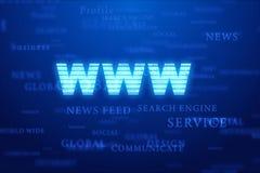 World Wide Web no fundo azul. Fotografia de Stock Royalty Free